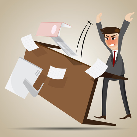rampage: illustration of cartoon angry businessman flipping table in work overload concept
