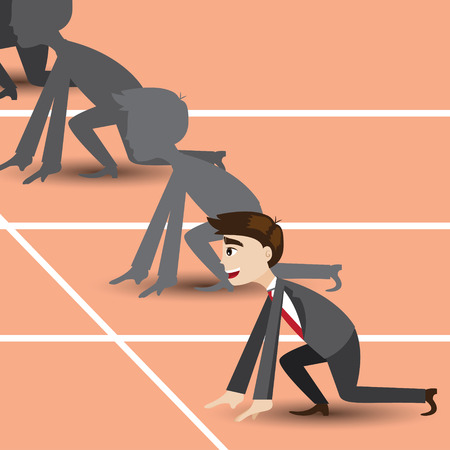 illustration of cartoon businessman on racetrack in business competition concept Vectores