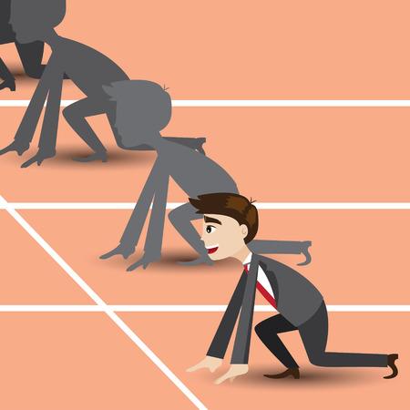 empezar: ilustración de dibujos animados de negocios en la pista de carreras en concepto de competencia empresarial Vectores