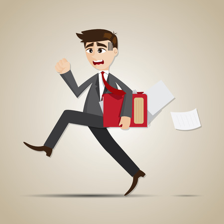 hustle: illustration of cartoon businessman in rush hours