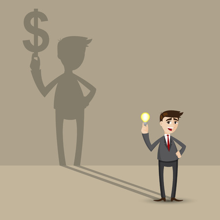 mirage: illustration of cartoon businessman holding idea bulb with money shadow on wall in financial concept Illustration