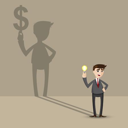 espejismo: ilustraci�n de dibujos animados de negocios la celebraci�n de la bombilla idea con el dinero de la sombra en la pared en el concepto financiero