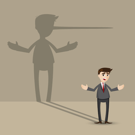 illustration of cartoon businessman with long nose shadow on wall in lying concept
