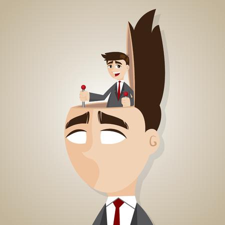 brainwash: illustration of cartoon businessman control head in brainwash concept