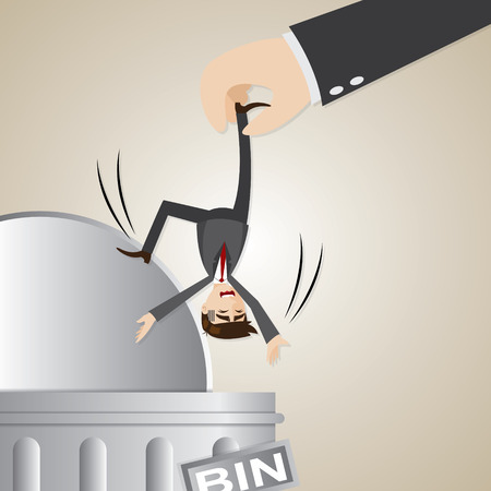 dismiss: illustration of cartoon businessman dropped into trashcan in lay off concept