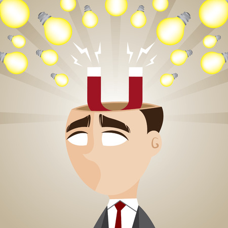 absorb: illustration of cartoon businessman with magnetic idea bulb in creativity concept