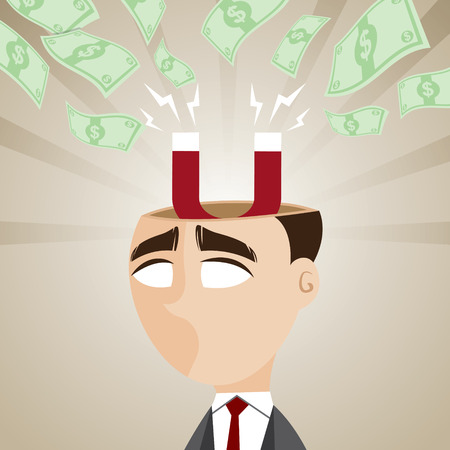 absorb: illustration of cartoon businessman with magnetic money cash in business profit concept