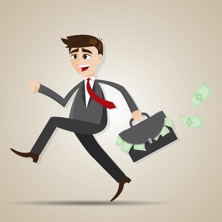 illustration of cartoon businessman running with bag full of money in salaryman concept