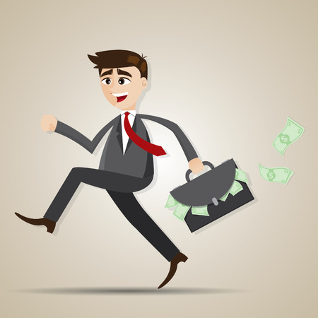illustration of cartoon businessman running with bag full of money in salaryman concept