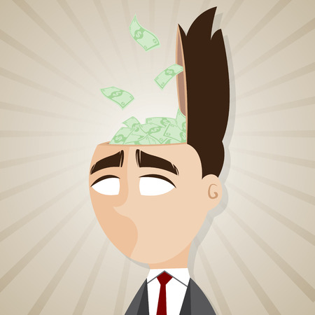 salaryman: illustration of cartoon businessman with cash from his head in salaryman concept