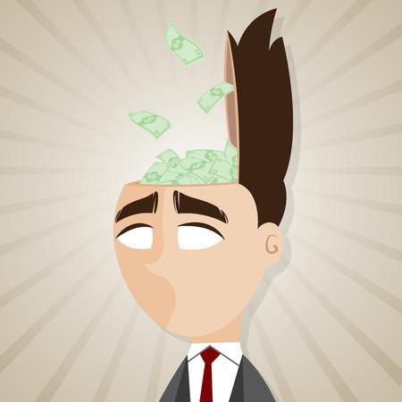 salaryman: illustration of cartoon businessman with cash from his head in salaryman concept