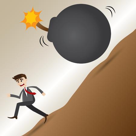 illustration of cartoon businessman escape from grenade bomb in deadline concept Vectores