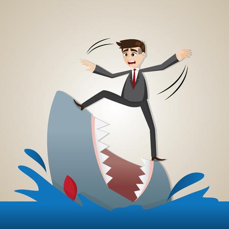 risky: illustration of cartoon businessman standing on shark in risky concept