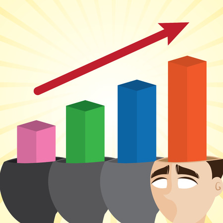 teammate: illustration of cartoon businessman with growing chart in progress concept