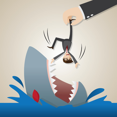 lay: illustration of cartoon businessman dropped into hungry shark in lay off concept