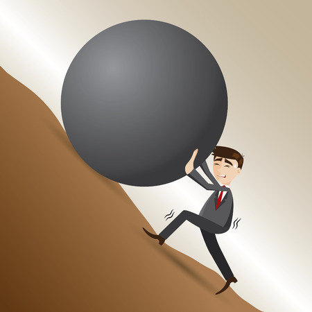 illustration of cartoon businessman push steel ball on moutain in work hard concept Vectores