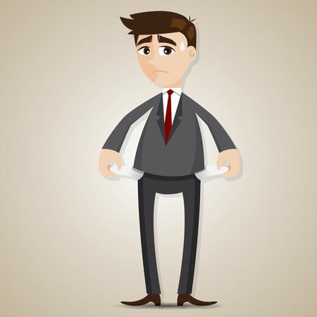 penniless: illustration of cartoon businessman have no money in bankrupt concept