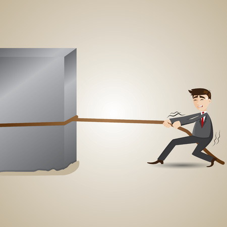 dragging: illustration of cartoon businessman pulling heavy steel on mud in work hard concept
