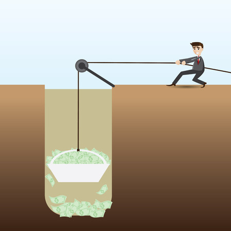 opportunity concept: illustration of cartoon businessman pulling money cash from hole in business opportunity concept
