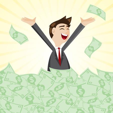 お金の山の上の漫画のビジネスマンのイラスト現金ジャック ポットのコンセプトで
