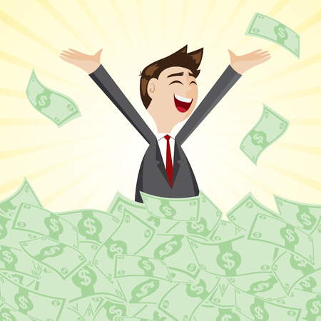 illustration of cartoon businessman on pile of money cash in jackpot concept