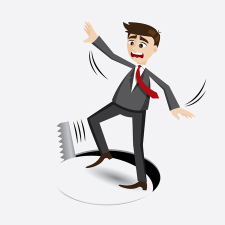 illustration of cartoon businessman falling in hole in downgrade concept