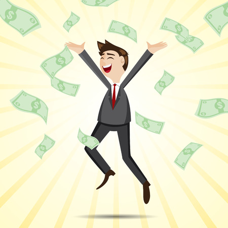 illustration of cartoon happy businessman jumping with money in jackpot concept Vectores