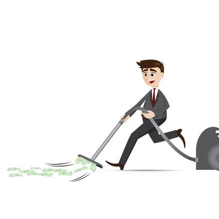 Illustration der Comic-Kaufmann mit Staubsauger im Finanzkonzept Vektorgrafik
