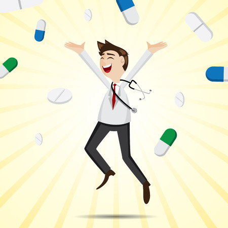 funny doctor: illustration of cartoon happiness doctor jumping with medicine pills