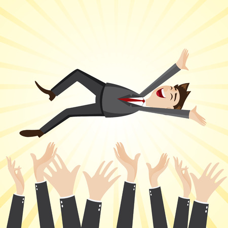 illustration of cartoon happiness businessman throw up teammate hand in success concept