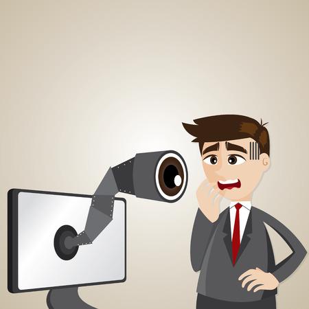 illustration of cartoon businessman with spy camera on computer monitor Vector
