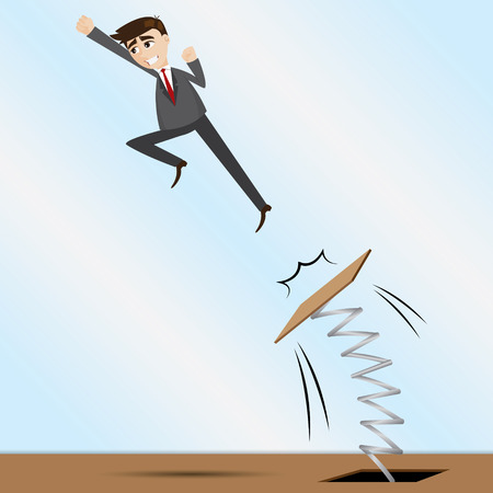 illustration of cartoon businessman jumping on springboard in progress concept