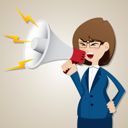 illustration of cartoon businesswoman shout out with megaphone Illustration