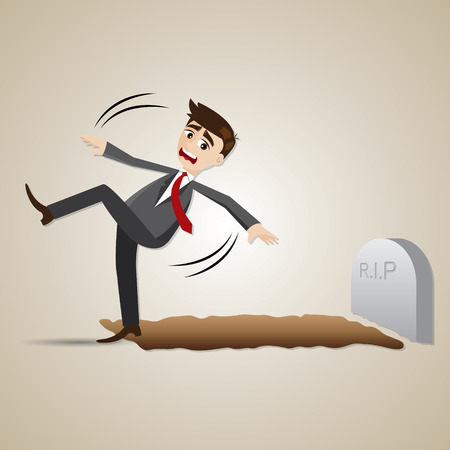 lay: illustration of cartoon businessman falling into graveyard in lay off concept