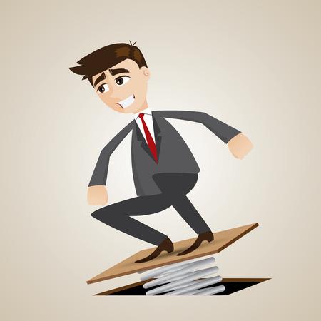 springplank: illustratie van cartoon zakenman springen op springplank in progress-concept