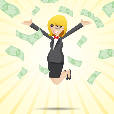 illustration of cartoon happy businesswoman jumping with money cash in financial concept Vector