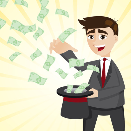 illustration of cartoon businessman with money from magician hat Vector
