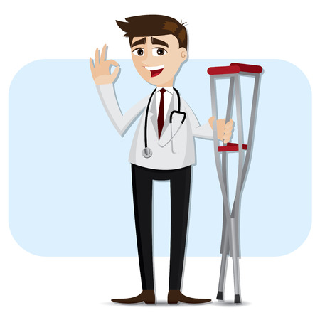 crutch: illustration of cartoon doctor with crutch in healthcare concept Illustration