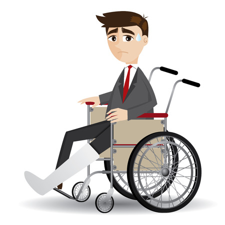 illustration of cartoon broken leg businessman sitting on wheelchair