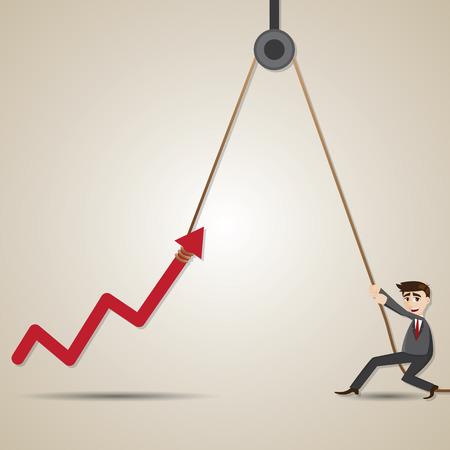 hoisting: illustration of cartoon businessman with hoist up arrow in progress concept