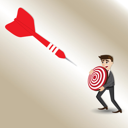 targeted: illustration of cartoon businessman with targeted dart in success concept