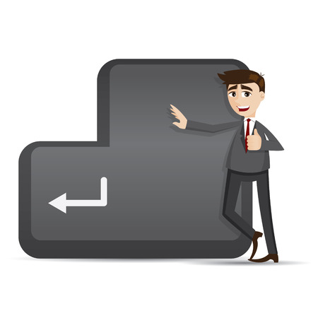 enter button: illustration of cartoon businessman with enter button in agreement concept Illustration