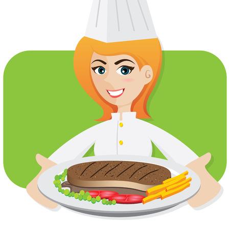 illustration of cartoon girl chef serving steak Vector