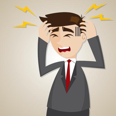 illustratie van cartoon zakenman hoofdpijn in het kantoor van het syndroom van begrip Vector Illustratie