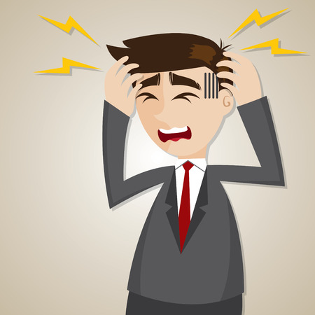 confuse: illustration of cartoon businessman headache in office syndrome concept Illustration