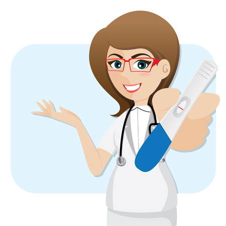 tester: illustration of cartoon cute doctor with pregnancy tester in healthcare concept Illustration