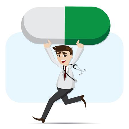 ilustración de dibujos animados médico llevando la medicina píldora en concepto de asistencia sanitaria