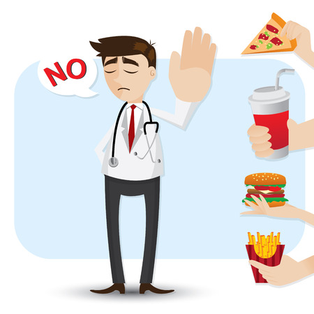 refuse: illustration of cartoon doctor refuse junk food in healthcare concept Illustration