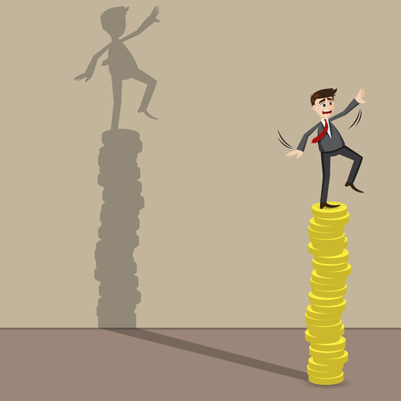 illustration of cartoon businessman on top of gold coin in concept risk in investment
