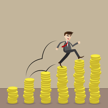 illustration of cartoon businessman step on stack of coin in investment progress concept